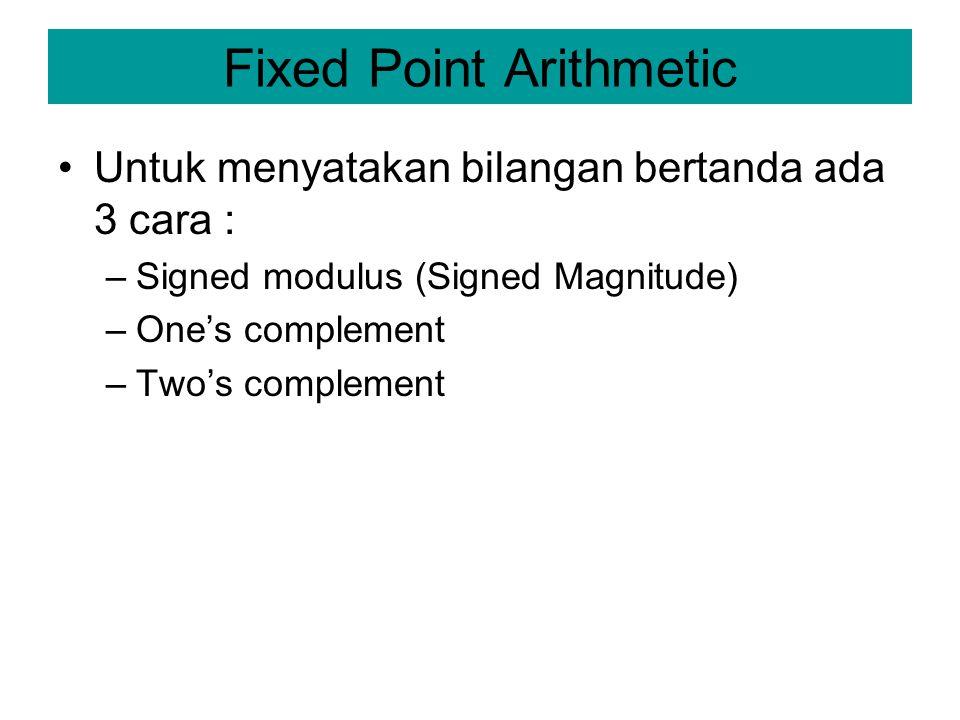 Fixed Point Arithmetic Untuk menyatakan bilangan bertanda ada 3 cara : –Signed modulus (Signed Magnitude) –One's complement –Two's complement