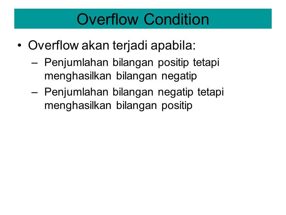Overflow Condition Overflow akan terjadi apabila: –Penjumlahan bilangan positip tetapi menghasilkan bilangan negatip –Penjumlahan bilangan negatip tet