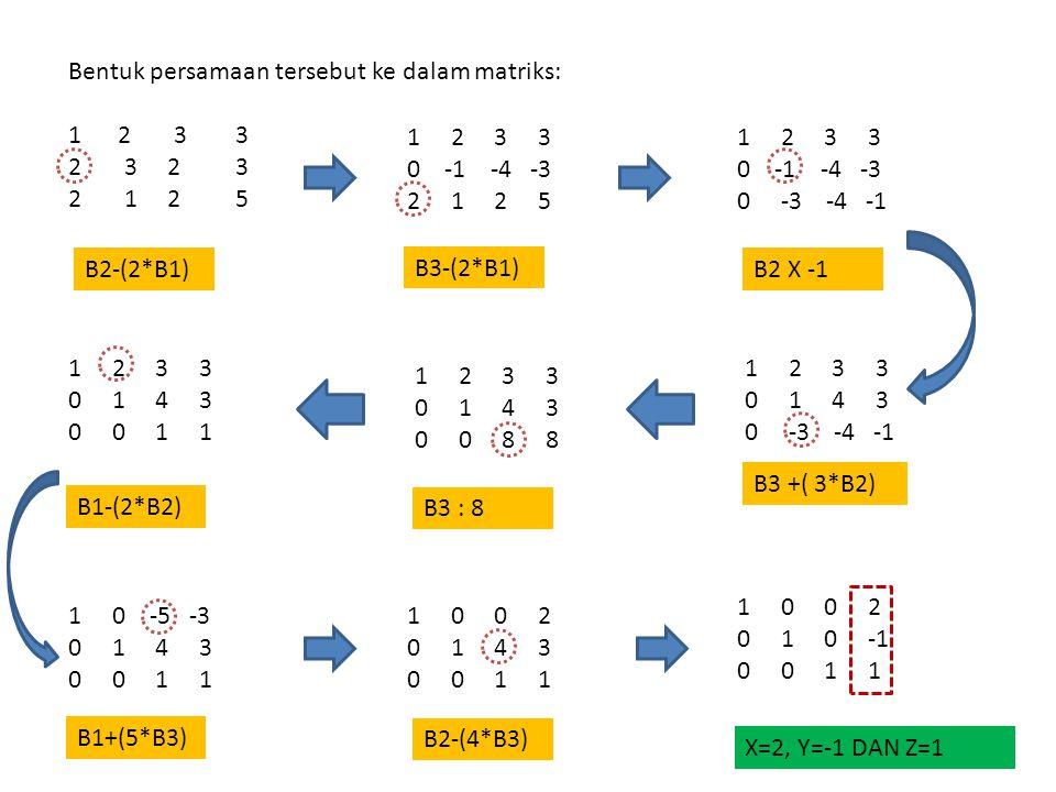 Bentuk persamaan tersebut ke dalam matriks: 1 2 3 3 2 3 2 1 2 5 1 2 3 3 0 -1 -4 -3 2 1 2 5 1 2 3 3 0 -1 -4 -3 0 -3 -4 -1 B3-(2*B1) 1 2 3 3 0 1 4 3 0 -