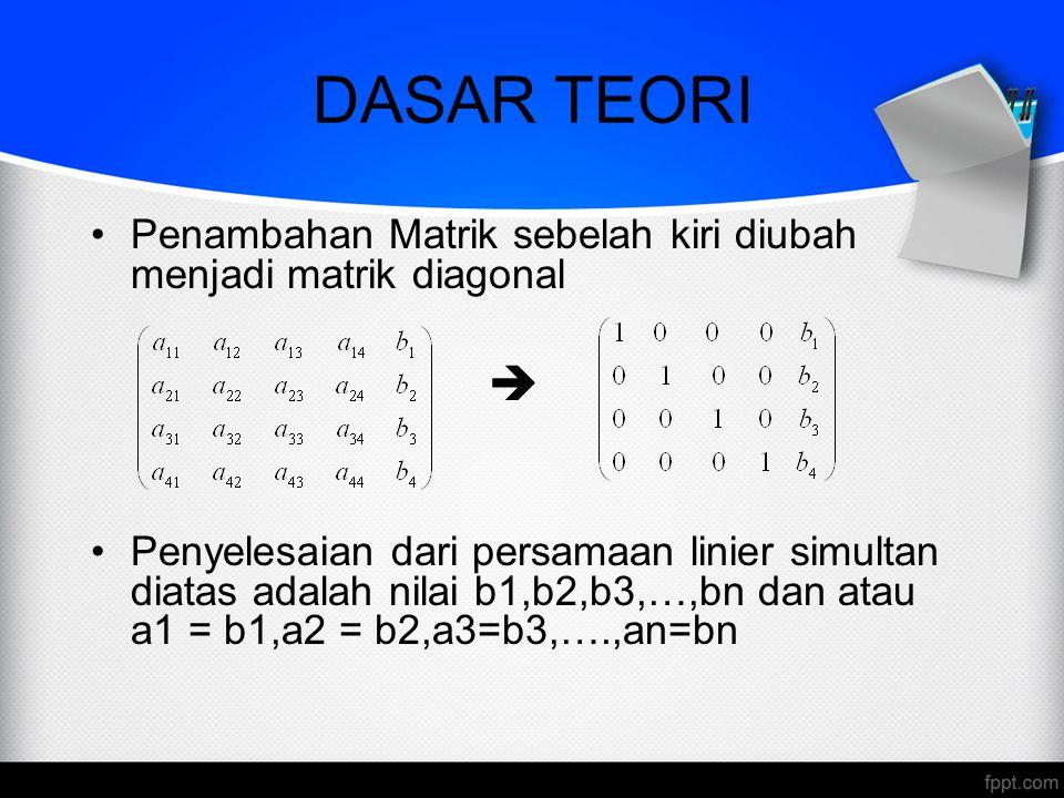 DASAR TEORI Teknik yang digunakan dalam metode eliminasi Gauss-Jordan ini sama seperti metode eliminasi Gauss yaitu menggunakan OBE (Operasi Baris Elementer).