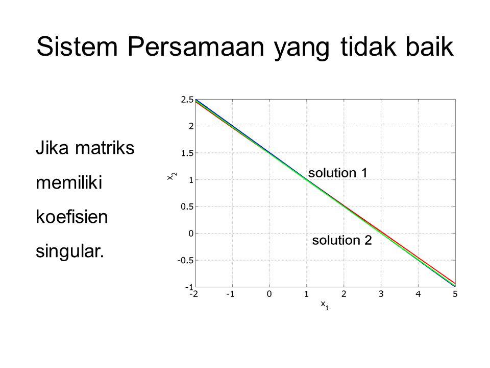 Sistem Persamaan yang tidak baik Jika matriks memiliki koefisien singular.
