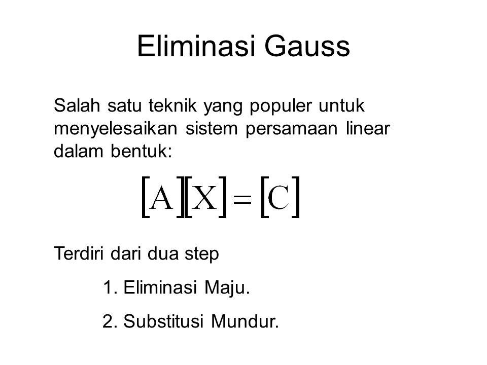 Eliminasi Gauss Salah satu teknik yang populer untuk menyelesaikan sistem persamaan linear dalam bentuk: Terdiri dari dua step 1. Eliminasi Maju. 2. S
