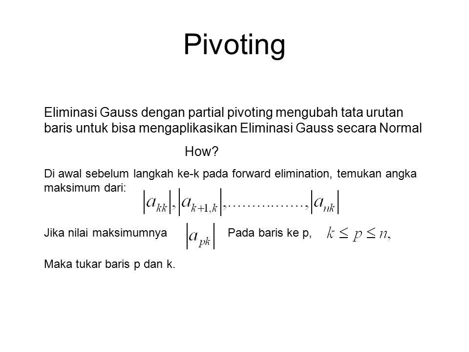 Pivoting Eliminasi Gauss dengan partial pivoting mengubah tata urutan baris untuk bisa mengaplikasikan Eliminasi Gauss secara Normal How? Di awal sebe