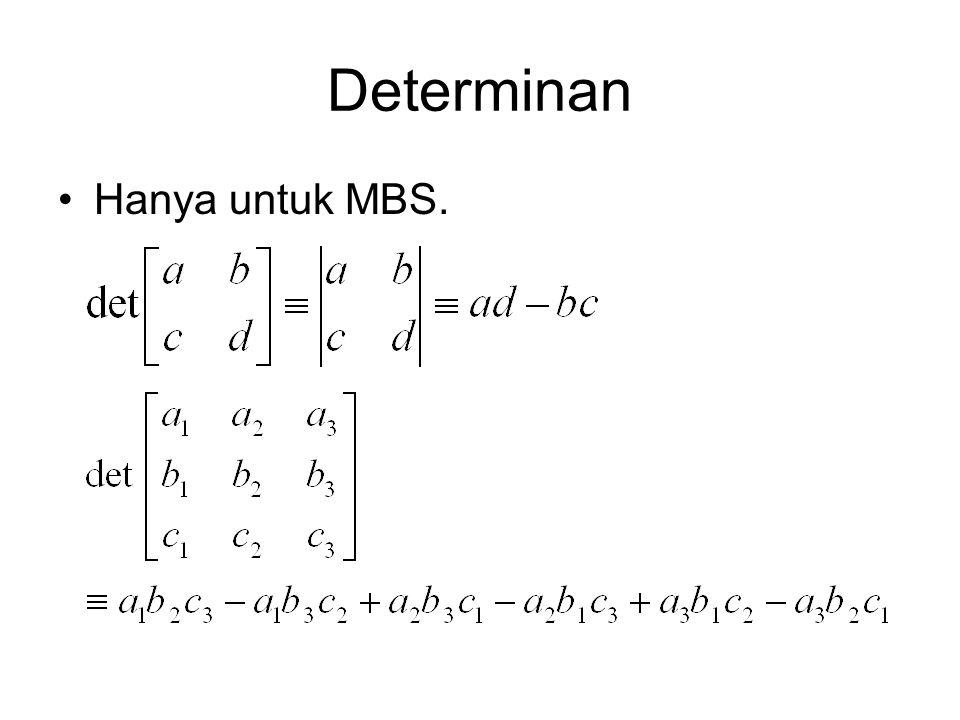 Determinan Jika determinan = 0, matriks tidak punya invers (matriks singular)