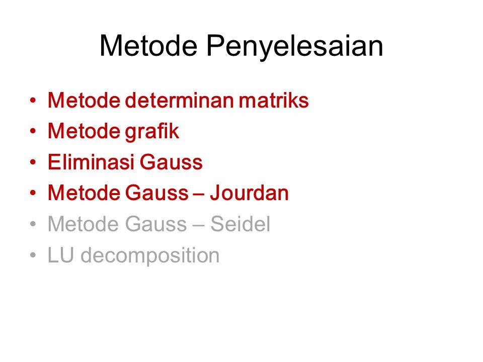 Metode Penyelesaian Metode determinan matriks Metode grafik Eliminasi Gauss Metode Gauss – Jourdan Metode Gauss – Seidel LU decomposition