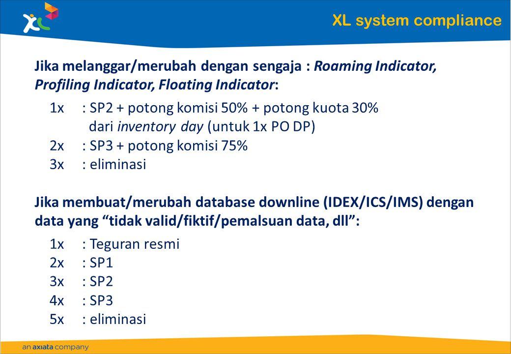XL system compliance Jika melanggar/merubah dengan sengaja : Roaming Indicator, Profiling Indicator, Floating Indicator: 1x: SP2 + potong komisi 50% + potong kuota 30% dari inventory day (untuk 1x PO DP) 2x: SP3 + potong komisi 75% 3x: eliminasi Jika membuat/merubah database downline (IDEX/ICS/IMS) dengan data yang tidak valid/fiktif/pemalsuan data, dll : 1x: Teguran resmi 2x: SP1 3x: SP2 4x: SP3 5x: eliminasi