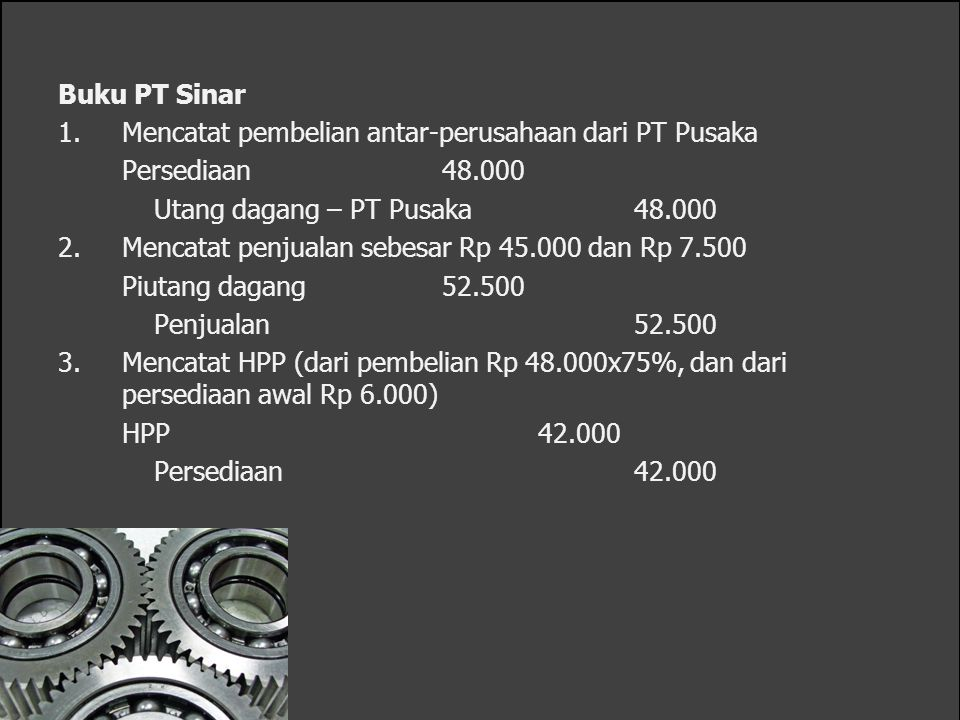 Buku PT Sinar 1.Mencatat pembelian antar-perusahaan dari PT Pusaka Persediaan48.000 Utang dagang – PT Pusaka48.000 2.Mencatat penjualan sebesar Rp 45.