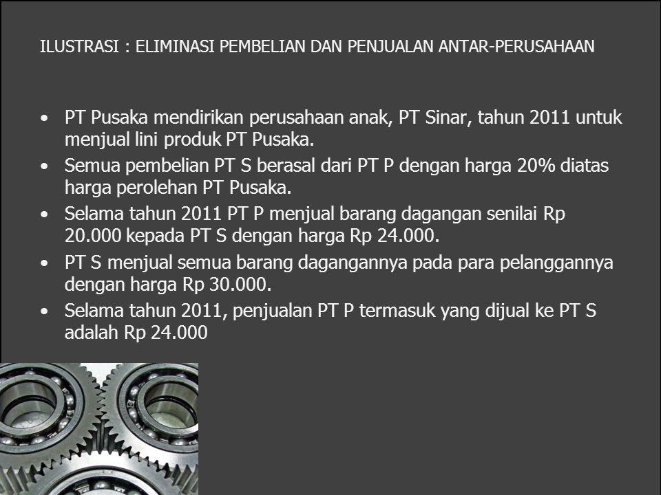 ILUSTRASI : ELIMINASI PEMBELIAN DAN PENJUALAN ANTAR-PERUSAHAAN PT Pusaka mendirikan perusahaan anak, PT Sinar, tahun 2011 untuk menjual lini produk PT