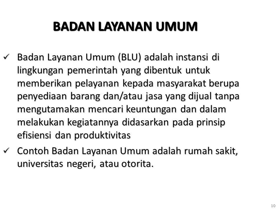 10 BADAN LAYANAN UMUM Badan Layanan Umum (BLU) adalah instansi di lingkungan pemerintah yang dibentuk untuk memberikan pelayanan kepada masyarakat ber