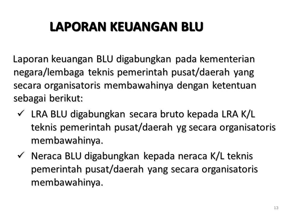 13 LAPORAN KEUANGAN BLU Laporan keuangan BLU digabungkan pada kementerian negara/lembaga teknis pemerintah pusat/daerah yang secara organisatoris membawahinya dengan ketentuan sebagai berikut: Laporan keuangan BLU digabungkan pada kementerian negara/lembaga teknis pemerintah pusat/daerah yang secara organisatoris membawahinya dengan ketentuan sebagai berikut: LRA BLU digabungkan secara bruto kepada LRA K/L teknis pemerintah pusat/daerah yg secara organisatoris membawahinya.