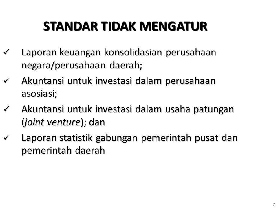 3 STANDAR TIDAK MENGATUR Laporan keuangan konsolidasian perusahaan negara/perusahaan daerah; Laporan keuangan konsolidasian perusahaan negara/perusahaan daerah; Akuntansi untuk investasi dalam perusahaan asosiasi; Akuntansi untuk investasi dalam perusahaan asosiasi; Akuntansi untuk investasi dalam usaha patungan (joint venture); dan Akuntansi untuk investasi dalam usaha patungan (joint venture); dan Laporan statistik gabungan pemerintah pusat dan pemerintah daerah Laporan statistik gabungan pemerintah pusat dan pemerintah daerah
