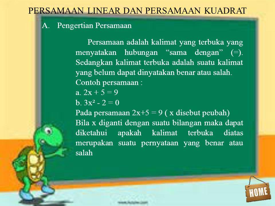 1.Penyelesaian persamaan kuadrat dengan rumus abc