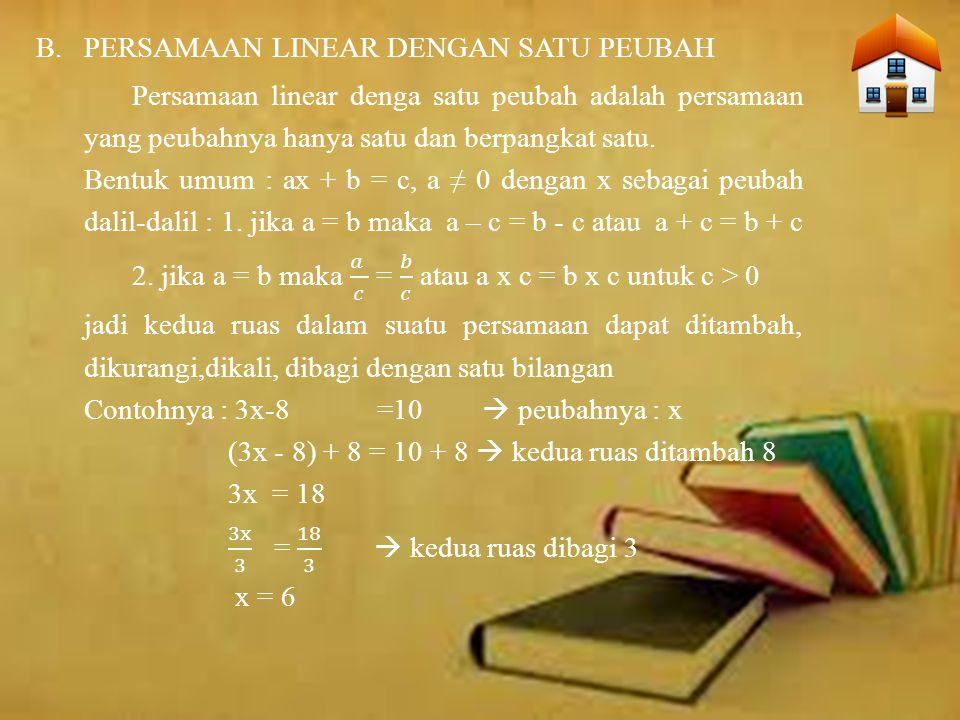 Persamaan linear dengan dua peubah adalah persamaan yang memiliki dua peubah dan pangkatnya satu.