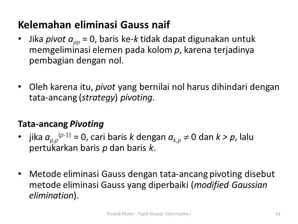 Kelemahan eliminasi Gauss naif Jika pivot a pp = 0, baris ke-k tidak dapat digunakan untuk memgeliminasi elemen pada kolom p, karena terjadinya pembag