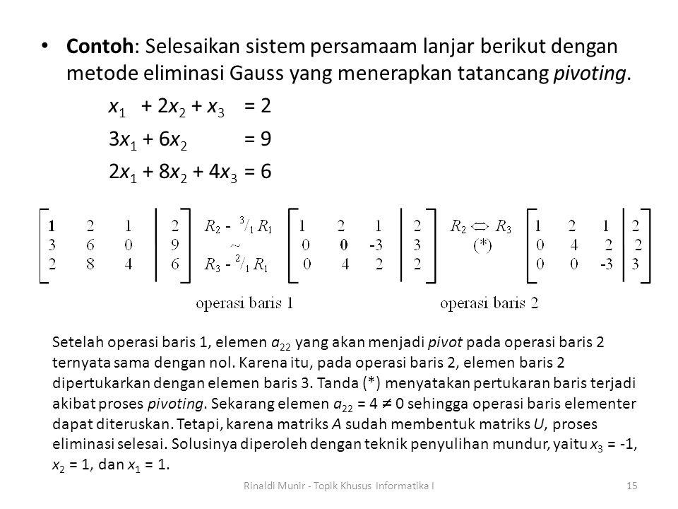 Contoh: Selesaikan sistem persamaam lanjar berikut dengan metode eliminasi Gauss yang menerapkan tatancang pivoting. x 1 + 2x 2 + x 3 = 2 3x 1 + 6x 2