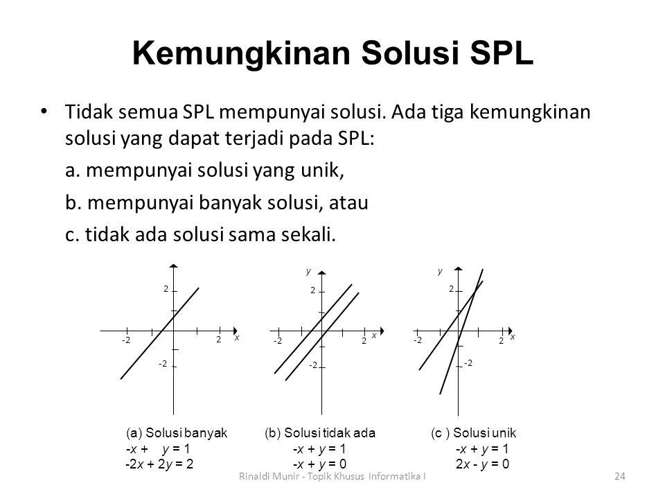 Kemungkinan Solusi SPL Tidak semua SPL mempunyai solusi. Ada tiga kemungkinan solusi yang dapat terjadi pada SPL: a. mempunyai solusi yang unik, b. me