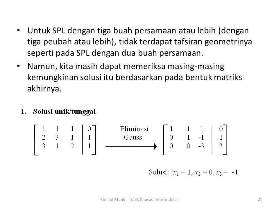 Untuk SPL dengan tiga buah persamaan atau lebih (dengan tiga peubah atau lebih), tidak terdapat tafsiran geometrinya seperti pada SPL dengan dua buah