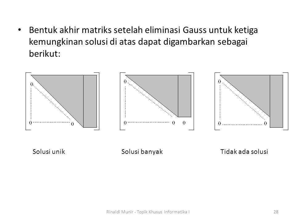 Bentuk akhir matriks setelah eliminasi Gauss untuk ketiga kemungkinan solusi di atas dapat digambarkan sebagai berikut: Rinaldi Munir - Topik Khusus I