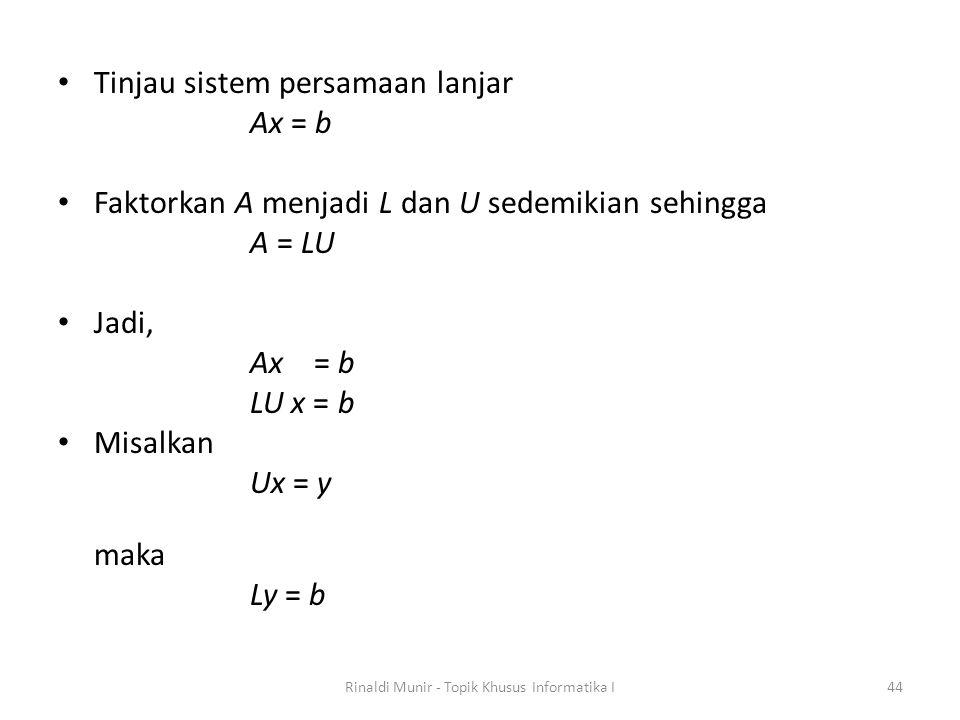 Tinjau sistem persamaan lanjar Ax = b Faktorkan A menjadi L dan U sedemikian sehingga A = LU Jadi, Ax = b LU x = b Misalkan Ux = y maka Ly = b Rinaldi