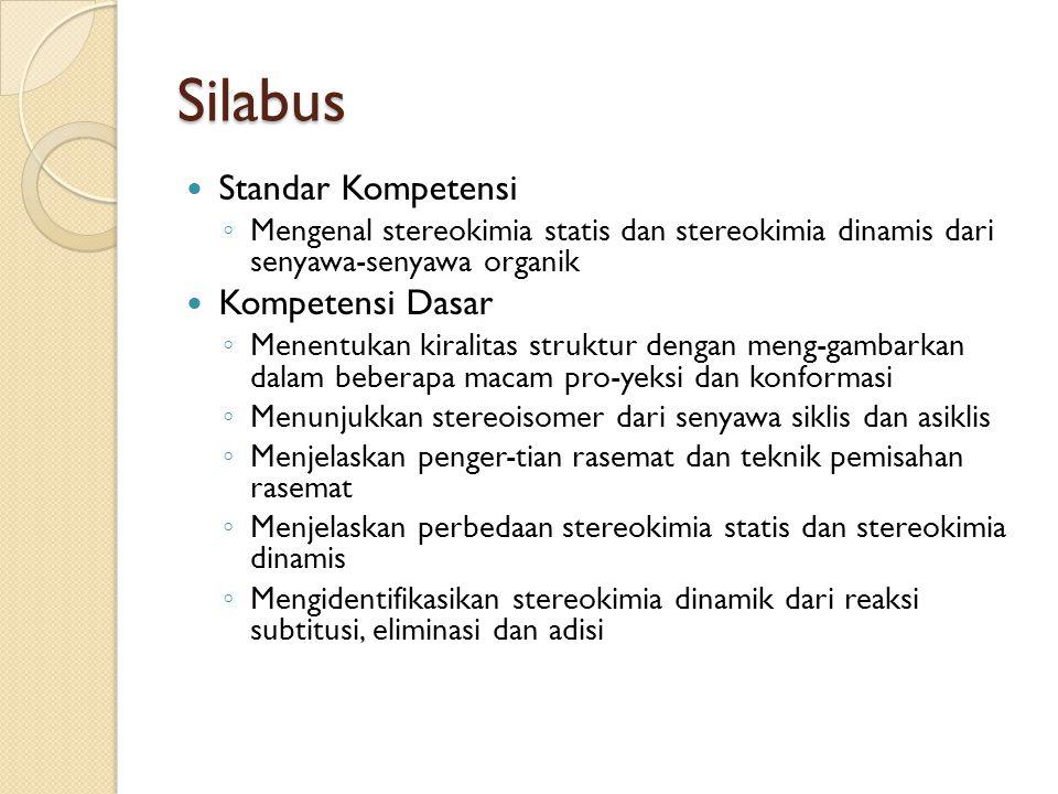 Silabus Standar Kompetensi ◦ Mengenal stereokimia statis dan stereokimia dinamis dari senyawa-senyawa organik Kompetensi Dasar ◦ Menentukan kiralitas