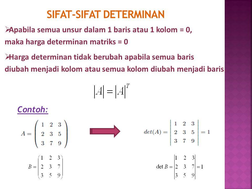 SIFAT-SIFAT DETERMINAN  Apabila semua unsur dalam 1 baris atau 1 kolom = 0, maka harga determinan matriks = 0  Harga determinan tidak berubah apabil