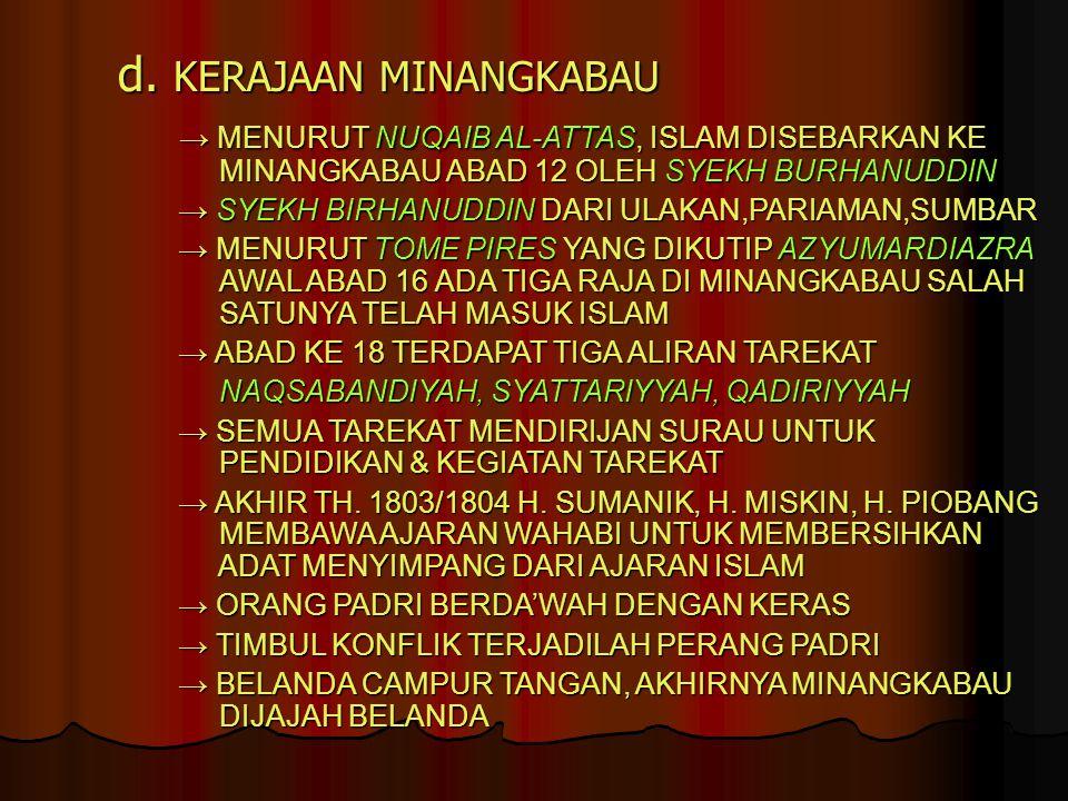 d. KERAJAAN MINANGKABAU → MENURUT NUQAIB AL-ATTAS, ISLAM DISEBARKAN KE MINANGKABAU ABAD 12 OLEH SYEKH BURHANUDDIN → MENURUT NUQAIB AL-ATTAS, ISLAM DIS