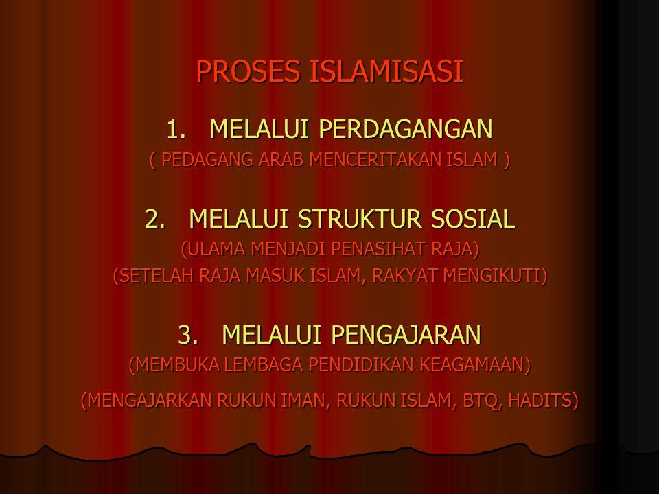 PROSES ISLAMISASI 1.MELALUI PERDAGANGAN ( PEDAGANG ARAB MENCERITAKAN ISLAM ) 2.MELALUI STRUKTUR SOSIAL (ULAMA MENJADI PENASIHAT RAJA) (SETELAH RAJA MA