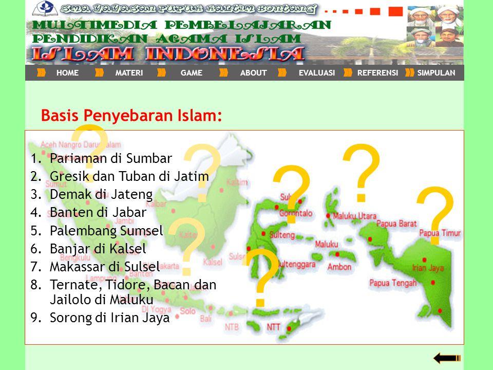kembali Basis Penyebaran Islam: ? ? ? ? ? ? ? 1.Pariaman di Sumbar 2.Gresik dan Tuban di Jatim 3.Demak di Jateng 4.Banten di Jabar 5.Palembang Sumsel