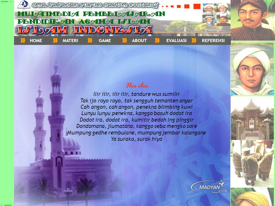 Kondisi Masyarakat Animisme&Dinamisme Agama Budha Agama Hindu Islam masuk Indonesia Jalur Masuk Indonesia Islam di Sumatra Aceh Darussalam Samudra Pasai Perkembangan Islam Indonesia Wali Songo Kerajaan Demak Kesultanan Mataram Kesultanan Pajang Perkembangan Islam di Jawa HOMEMATERIGAMEABOUTEVALUASIREFERENSI Peran Organisasi Muhammadiyah PERSIS Nahdlotul Ulama Organisasi Islam