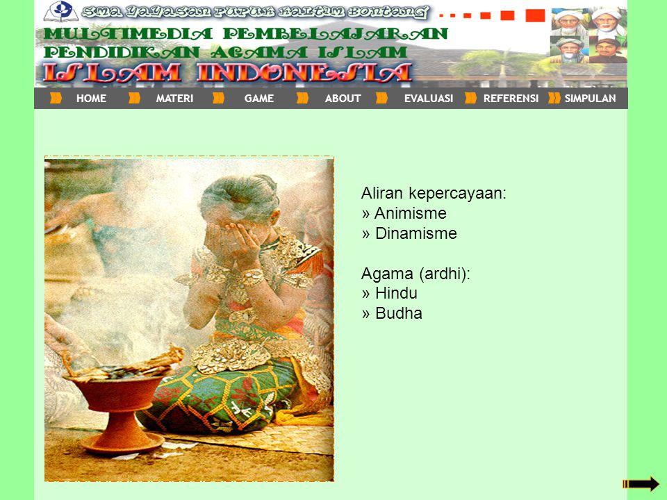 Aliran kepercayaan: » Animisme » Dinamisme Agama (ardhi): » Hindu » Budha HOMEMATERIGAMEABOUTEVALUASIREFERENSISIMPULAN