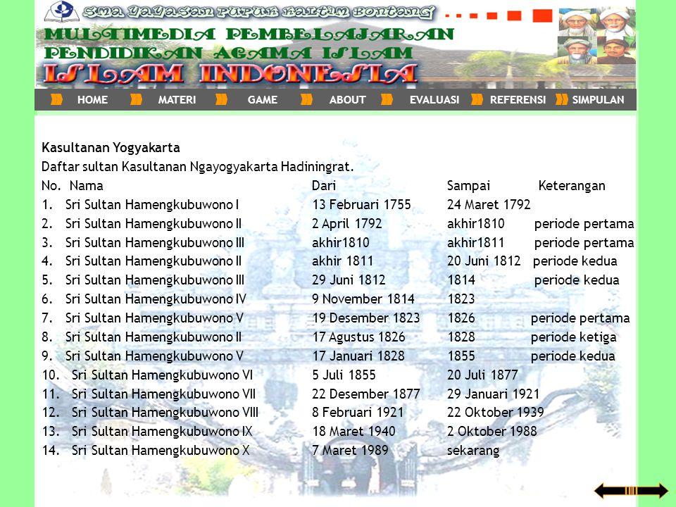 Kasultanan Yogyakarta Daftar sultan Kasultanan Ngayogyakarta Hadiningrat. No. Nama Dari Sampai Keterangan 1. Sri Sultan Hamengkubuwono I 13 Februari 1