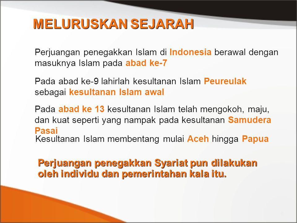 Perjuangan penegakkan Islam di Indonesia berawal dengan masuknya Islam pada abad ke-7 Pada abad ke-9 lahirlah kesultanan Islam Peureulak sebagai kesul