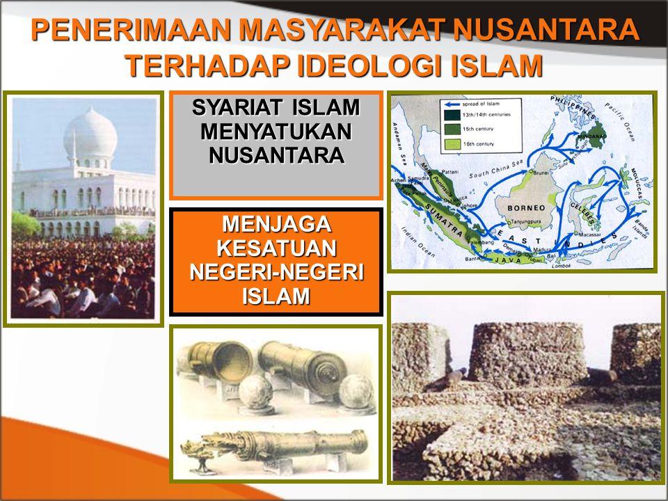 PENERIMAAN MASYARAKAT NUSANTARA TERHADAP IDEOLOGI ISLAM SYARIAT ISLAM MENYATUKAN NUSANTARA MENJAGA KESATUAN NEGERI-NEGERI ISLAM