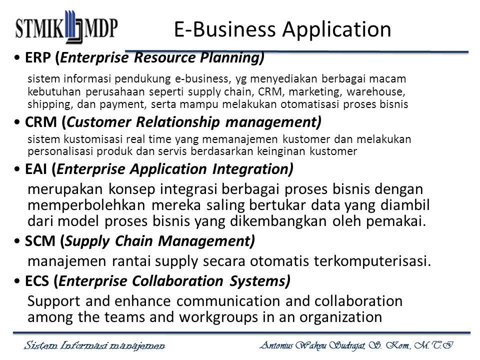 Sistem Informasi manajemen Antonius Wahyu Sudrajat, S. Kom., M.T.I E-Business Application ERP (Enterprise Resource Planning) sistem informasi pendukun