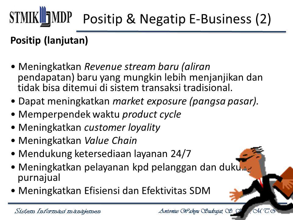 Sistem Informasi manajemen Antonius Wahyu Sudrajat, S. Kom., M.T.I Positip & Negatip E-Business (2) Positip (lanjutan) Meningkatkan Revenue stream bar