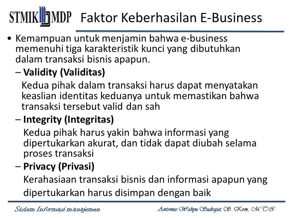 Sistem Informasi manajemen Antonius Wahyu Sudrajat, S. Kom., M.T.I Faktor Keberhasilan E-Business Kemampuan untuk menjamin bahwa e-business memenuhi t