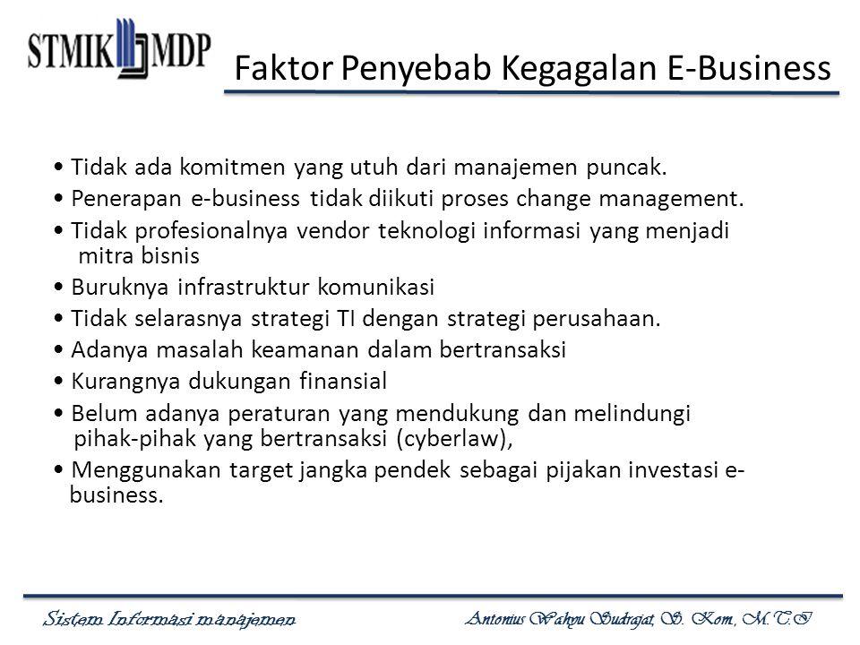 Sistem Informasi manajemen Antonius Wahyu Sudrajat, S. Kom., M.T.I Faktor Penyebab Kegagalan E-Business Tidak ada komitmen yang utuh dari manajemen pu
