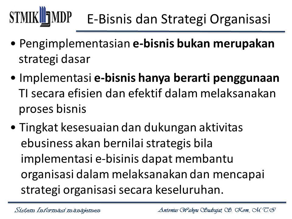 Sistem Informasi manajemen Antonius Wahyu Sudrajat, S. Kom., M.T.I E-Bisnis dan Strategi Organisasi Pengimplementasian e-bisnis bukan merupakan strate