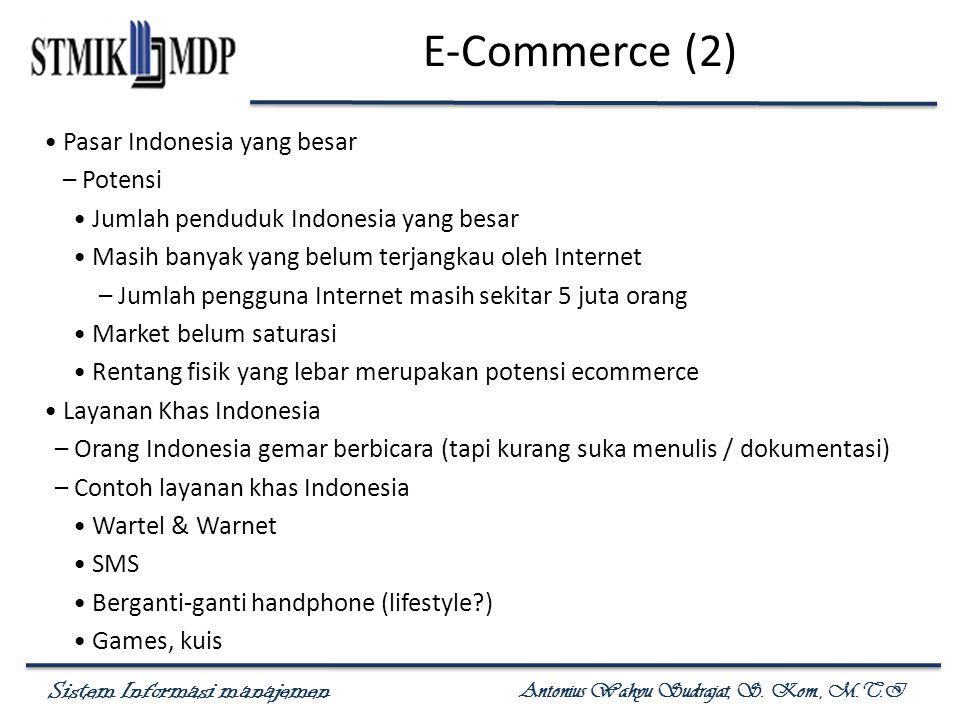 Sistem Informasi manajemen Antonius Wahyu Sudrajat, S. Kom., M.T.I E-Commerce (2) Pasar Indonesia yang besar – Potensi Jumlah penduduk Indonesia yang