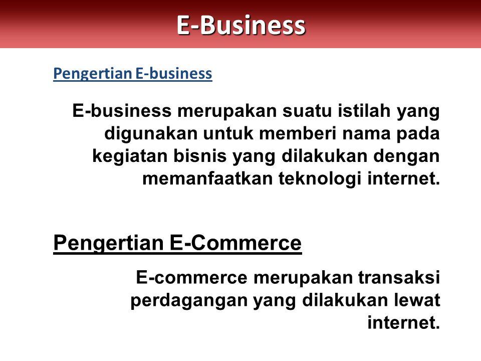 Pengertian E-businessE-Business E-business merupakan suatu istilah yang digunakan untuk memberi nama pada kegiatan bisnis yang dilakukan dengan memanfaatkan teknologi internet.