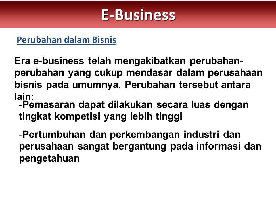 Perubahan dalam Bisnis E-Business Era e-business telah mengakibatkan perubahan- perubahan yang cukup mendasar dalam perusahaan bisnis pada umumnya. Pe
