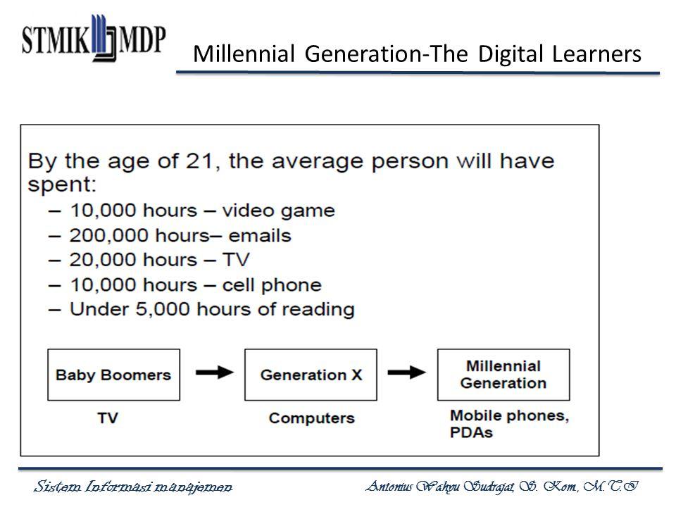 Sistem Informasi manajemen Antonius Wahyu Sudrajat, S. Kom., M.T.I Millennial Generation-The Digital Learners
