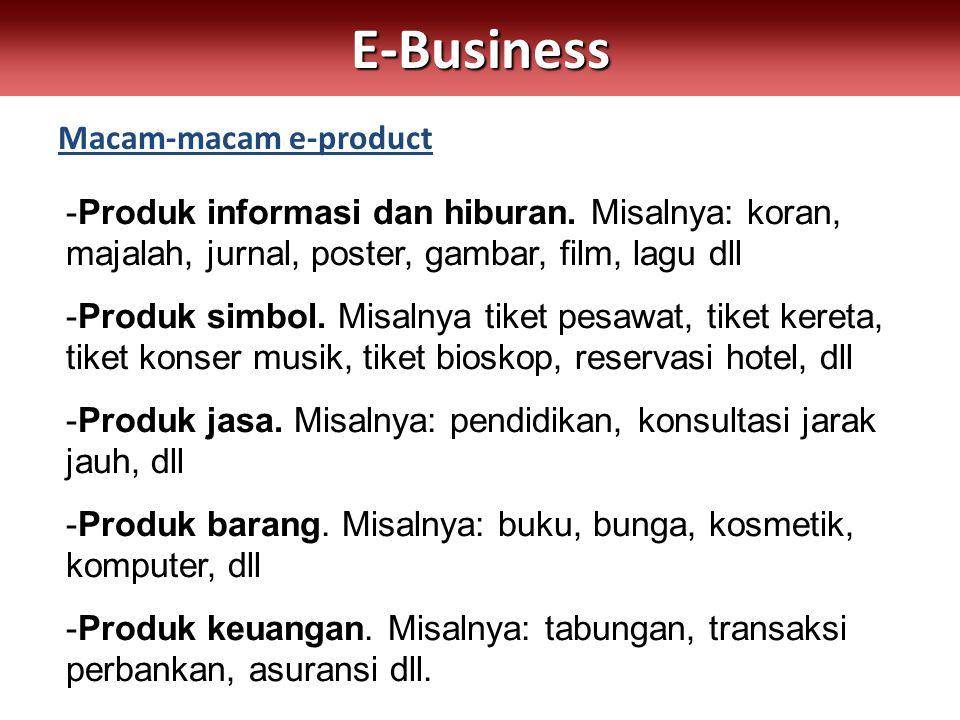 Macam-macam e-productE-Business -Produk informasi dan hiburan. Misalnya: koran, majalah, jurnal, poster, gambar, film, lagu dll -Produk simbol. Misaln