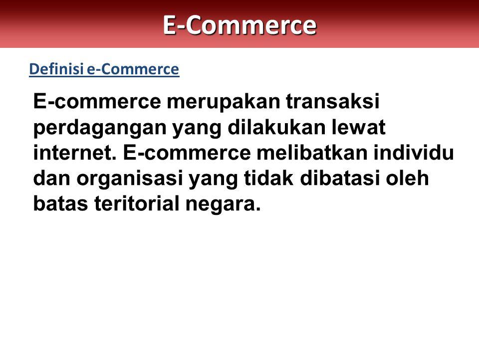 Definisi e-CommerceE-Commerce E-commerce merupakan transaksi perdagangan yang dilakukan lewat internet.