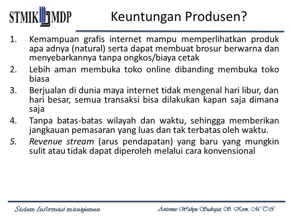 Sistem Informasi manajemen Antonius Wahyu Sudrajat, S. Kom., M.T.I Keuntungan Produsen? 1.Kemampuan grafis internet mampu memperlihatkan produk apa ad