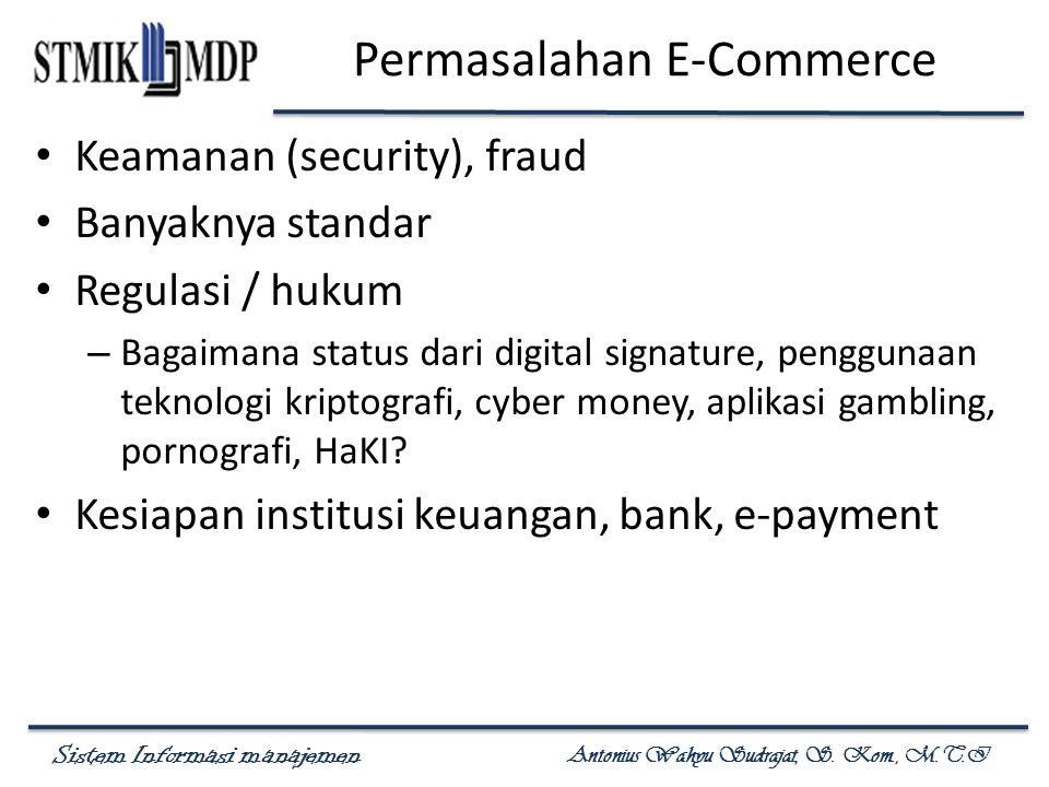 Sistem Informasi manajemen Antonius Wahyu Sudrajat, S. Kom., M.T.I Permasalahan E-Commerce Keamanan (security), fraud Banyaknya standar Regulasi / huk