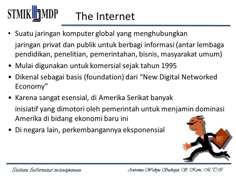Sistem Informasi manajemen Antonius Wahyu Sudrajat, S. Kom., M.T.I The Internet Suatu jaringan komputer global yang menghubungkan jaringan privat dan