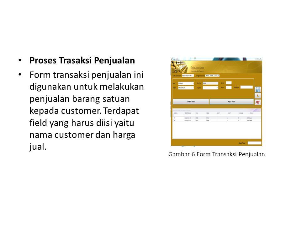 Proses Trasaksi Penjualan Form transaksi penjualan ini digunakan untuk melakukan penjualan barang satuan kepada customer. Terdapat field yang harus di