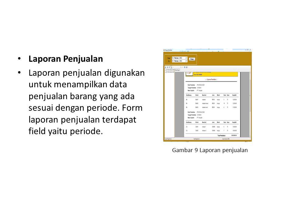 Laporan Penjualan Laporan penjualan digunakan untuk menampilkan data penjualan barang yang ada sesuai dengan periode. Form laporan penjualan terdapat