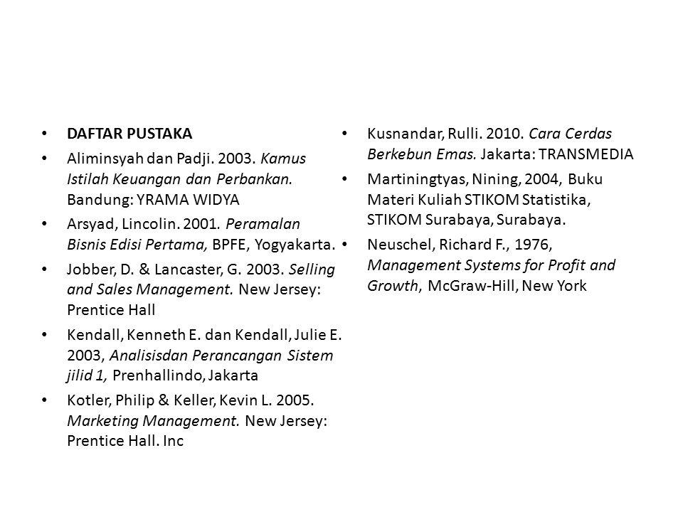DAFTAR PUSTAKA Aliminsyah dan Padji. 2003. Kamus Istilah Keuangan dan Perbankan. Bandung: YRAMA WIDYA Arsyad, Lincolin. 2001. Peramalan Bisnis Edisi P